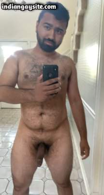 Stripping gay bear teasing hot body and cock
