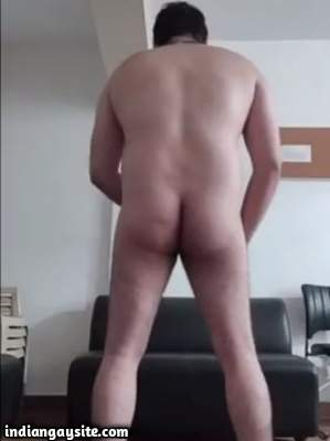 Indian daddy bear standing naked and wanking